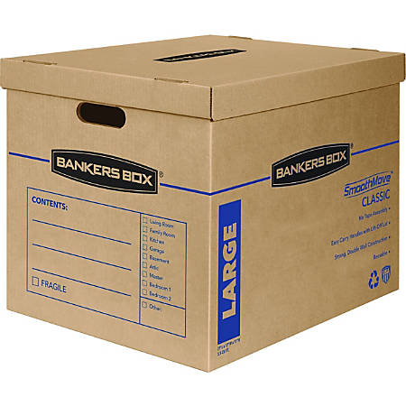 """Fellowes SmoothMove™ Classic Moving Boxes With Lift-Off Lid, 17"""" x 21"""" x 17"""", Kraft Brown, Box Of 5"""
