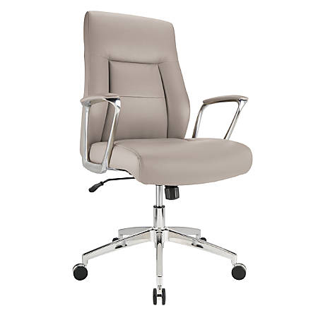 Realspace® Modern Comfort Delagio Bonded Leather Managerial Mid-Back Chair, Taupe/Silver