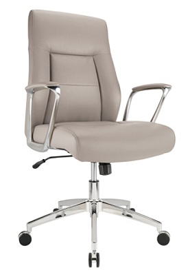 Realspace® Modern Comfort Delagio Bonded Leather Managerial Mid-Back Chair,  Taupe/Silver Item # 6006992