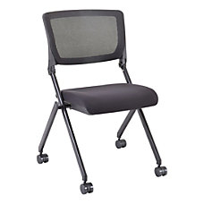 Lorell Mesh Back Nesting Chairs Black