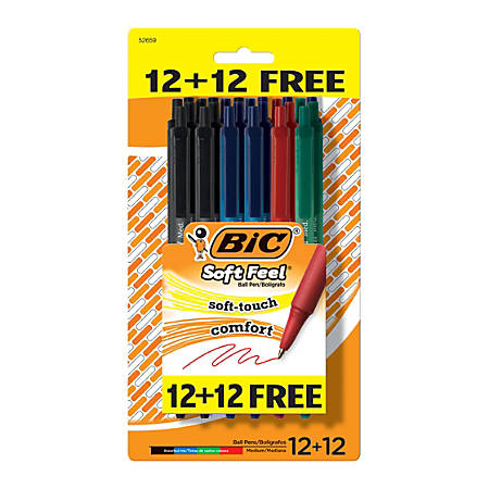 BIC® Soft Feel® Retractable Ballpoint Pens, Medium Point, 1.0 mm, Assorted Barrel Colors, Assorted Ink Colors, Pack Of 24 Pens