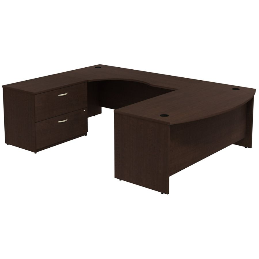 Beau Bush Business Furniture Components Bow Front U Shaped Desk With 2 Drawer  Lateral File Cabinet Mocha Cherry Premium Installation By Office Depot U0026  OfficeMax