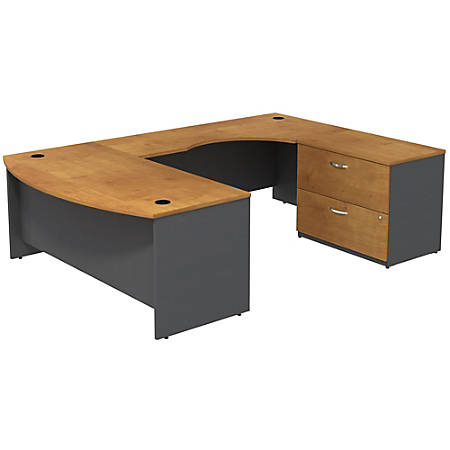 Bush Business Furniture Components Bow Front U Shaped Desk With 2 Drawer Lateral File Cabinet, Natural Cherry/Graphite Gray, Standard Delivery