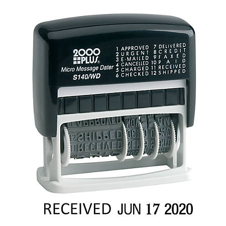 2000Plus® Self-Inking 12-in-1 Micro Date and Message Stamp, 12 Phrases