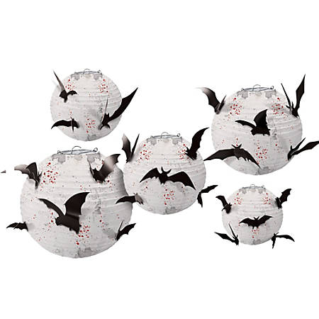 Amscan Paper Halloween Lanterns with Bat Add-Ons, Multiple Sizes, 2 Per Pack, Carton Of 5 Packs