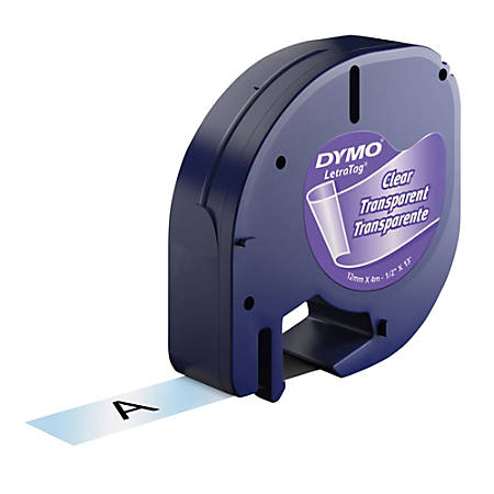"DYMO® LT 16952 Black-On-Clear Tape, 0.5"" x 13'"