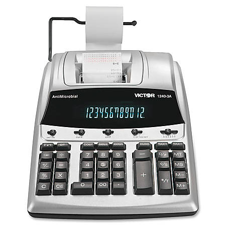 Victor® 1240-3A 12-Digit Heavy-Duty Commercial Printing Calculator With Built-In AntiMicrobial Protection