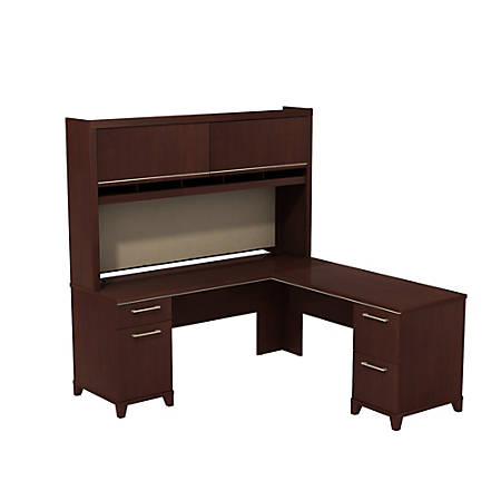 "Bush Business Furniture Enterprise 72""W x 72""D L Shaped Desk With Hutch, Harvest Cherry, Premium Installation"