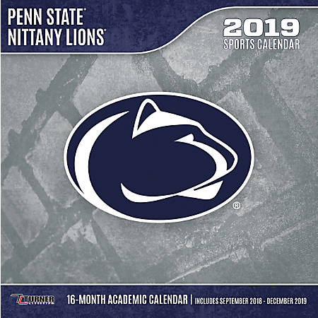 """Turner Sports Monthly Wall Calendar, 12"""" x 12"""", Penn State Nittany Lions, January to December 2019"""