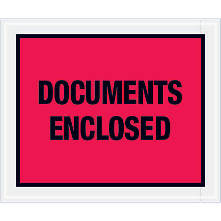 """Tape Logic® Preprinted Packing List Envelopes, Documents Enclosed, 10"""" x 12"""", Red, Case Of 500"""