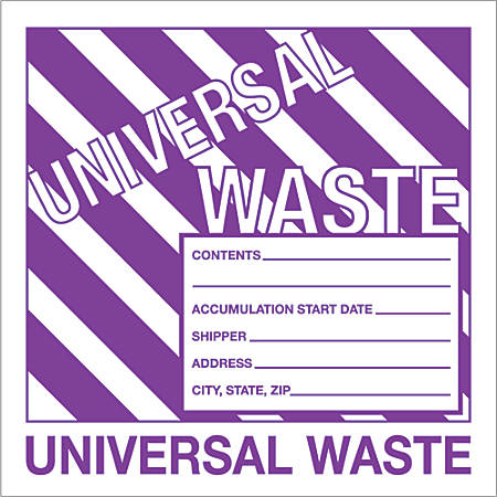 """Tape Logic® Preprinted Shipping Labels, DL1303, Universal Waste, Square, 6"""" x 6"""", Purple/White, Roll Of 500"""