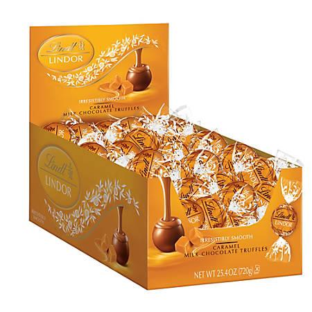 Lindt Lindor Truffles, Caramel Milk Chocolate, Box Of 60