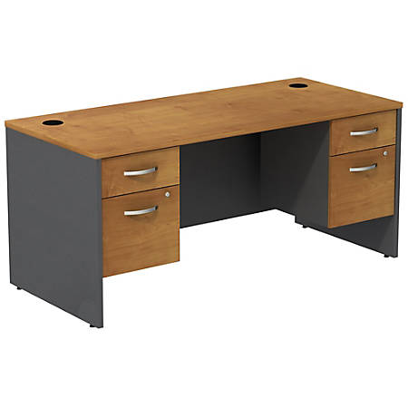 Bush Business Furniture Components Desk With Two 3/4 Pedestals, Natural Cherry, Premium Installation