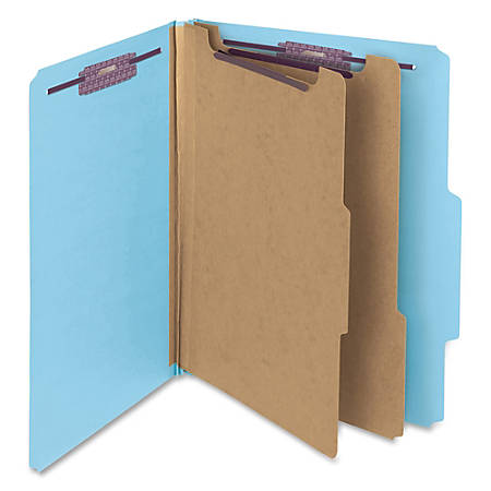 """Smead® Classification Folders, Top-Tab With SafeSHIELD® Coated Fasteners, 2"""" Expansion, Letter Size, 50% Recycled, Blue, Box Of 10"""
