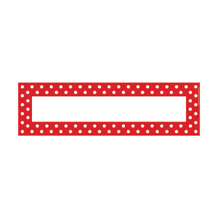 "Barker Creek Double-Sided Desk Tags/Bulletin Board Signs, 3 1/2"" x 12"", Red-And-White Dot, Pre-K To 6th Grade, Pack Of 36"