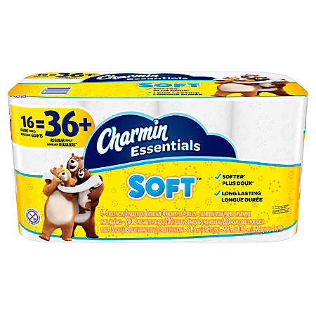 Charmin Essentials Soft 2-Ply Bathroom Tissue, 200 Sheets Per Roll, Pack Of 16 Rolls