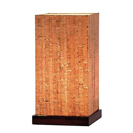 "Adesso® Sedona Table Lantern, 13""H, Natural Shade/Walnut Base"