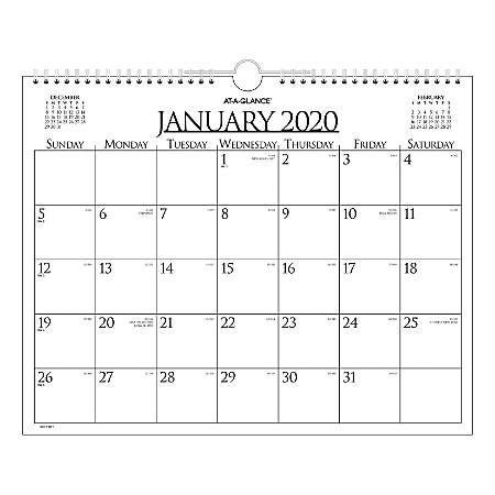 Calendar December 2020.At A Glance Business Monthly Wall Calendar 15 X 12 January To December 2020 997 1 Item 6021513