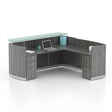 Mayline® Medina Reception Station, With Return And 2 Pedestals, Gray Steel
