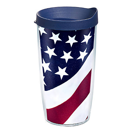 Tervis Colossal Tumbler With Lid, American Flag, 16 Oz, Clear