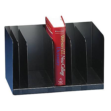 "Buddy Adjustable Book Rack - 5 Divider(s) - 9.3"" Height x 15"" Width x 9.3"" Depth - Desktop - Black - Steel - 1Each"