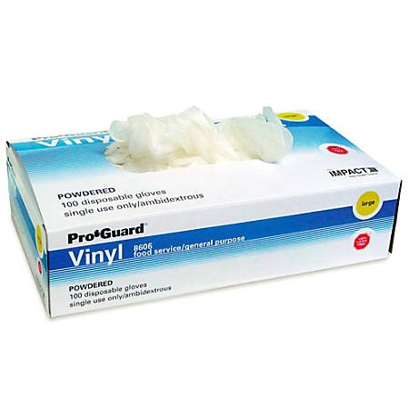 Impact Products Powdered Vinyl Gloves, Disposable, General Purpose, Small, Clear, Box Of 100