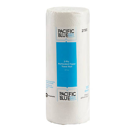 """Pacific Blue Select by GP Pro 2-Ply Perforated Paper Towels, 11"""" x 8-13/16"""", White, 100 Sheets Per Roll, Case Of 30 Rolls"""