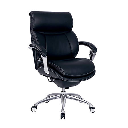 Serta® iComfort i5000 Bonded Leather Managerial Mid-Back Chair, Onyx Black/Silver