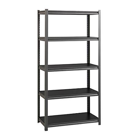 "WorkPro® Premier Laminate Adjustable Shelving, 5-Shelves, 72""H x 36""W x 18""D, Gunmetal Gray"