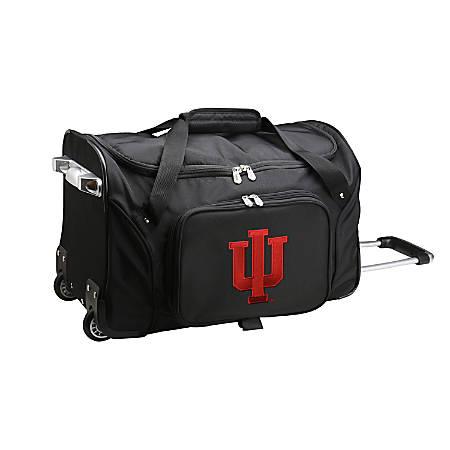 """Denco Sports Luggage Rolling Duffel Bag, Indiana Hoosiers, 22""""H x 12""""W x 12""""D, Black"""