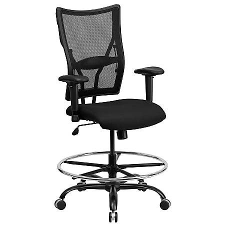 Flash Furniture HERCULES Big And Tall Mesh Drafting Chair With Adjustable Arms, Black