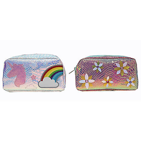 Inkology Sequin Pet Pencil Pouches, Assorted Designs, Pack Of 6 Pouches
