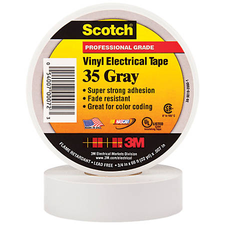 "3M™ 35 Color-Coded Vinyl Electrical Tape, 1.5"" Core, 0.75"" x 66', Gray, Pack Of 100"