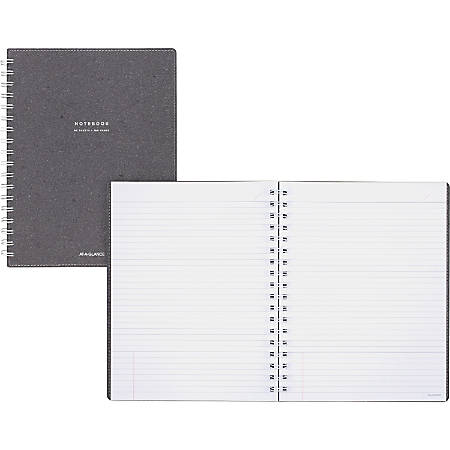 """AT-A-GLANCE® Signature Collection™ Twin-Wire Notebook, 7 1/4"""" x 9 1/2"""", Legal Ruled, 160 Pages (80 Sheets), Heather Gray (YP14445)"""