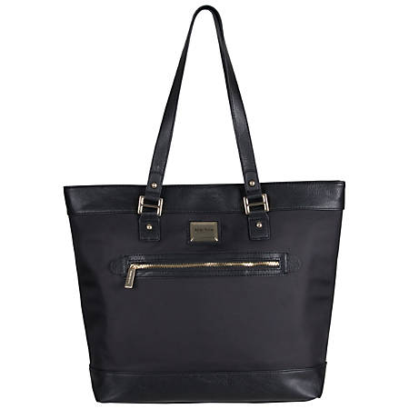 "Kenneth Cole Reaction Nylon Twill Work Tote With 16"" Laptop Pocket, Black"