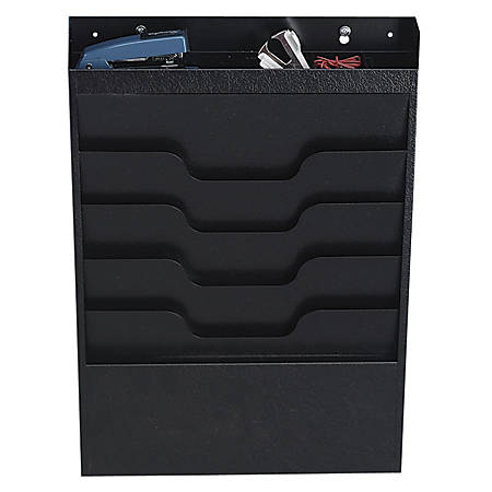 "Buddy Task File Organizer, 4-Pockets, 19 13/16""H x 13 1/2""W x 2""D, Black"