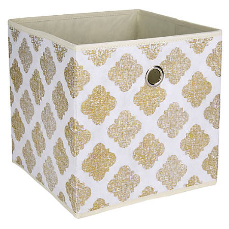 "Realspace® Storage Cube, 12"" x 12"" x 12"", Metallic Gold Print"