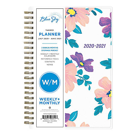 """Blue Sky™ Polypropylene Academic Weekly/Monthly Planner, 5"""" x 8"""", Multicolor, July 2020 to June 2021, 118176-A"""