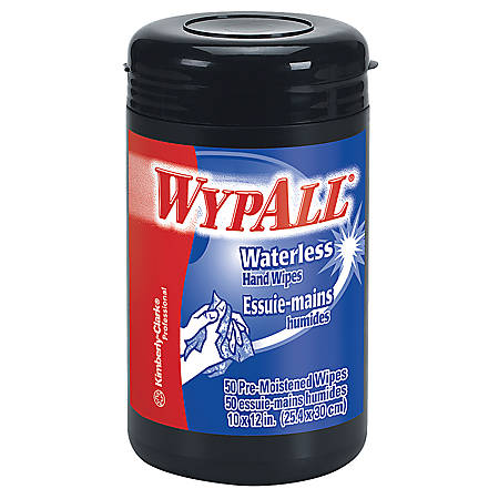 "Wypall® Heavy-Duty Waterless Hand Wipes, Orange Scent, 12"" x 10 1/2"", Tub Of 50"