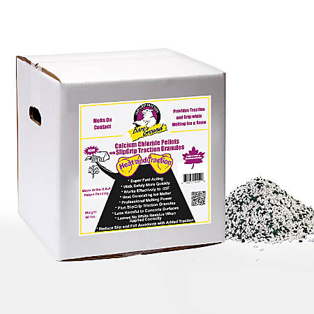 Bare Ground Calcium Chloride Pellets, With Traction Granules, 40-Lb Box