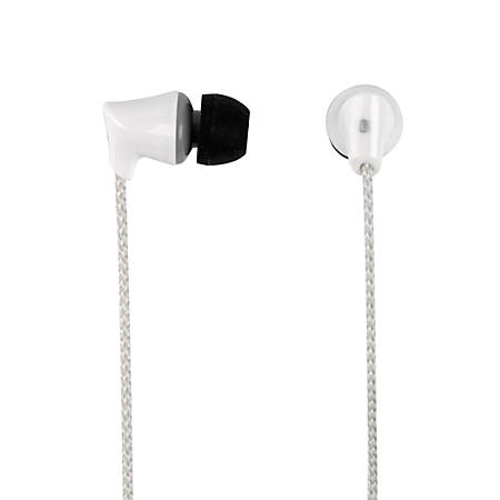 Ativa™ Plastic Earbud Headphones With Braided Cable, White, 1258