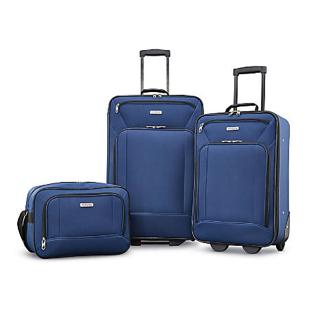 American tourister fieldbrook xlt polyester 3 piece luggage set navy by office depot officemax - American tourister office bags ...