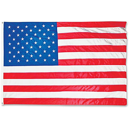 "Advantus Heavyweight Nylon Outdoor U.S. Flag - United States - 96"" x 60"" - Heavyweight, Grommet, Durable - Nylon, Brass - Red, White, Blue"