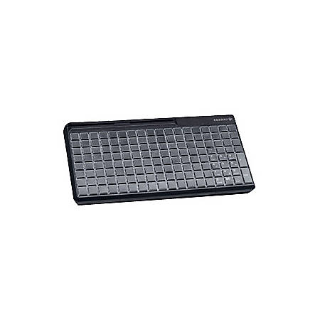 CHERRY SPOS (Small Point of Sale) MSR Rows & Columns Keyboard - 142 Relegendable Keys - Magnetic Stripe Reader - USB - Black