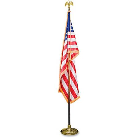 "Advantus Goldtone Eagle Deluxe U.S. Flag Set - United States - 60"" x 36"" - Heavyweight - Nylon - Red, White, Blue"