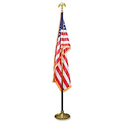 "Advantus Goldtone Eagle Deluxe U.S. Flag Set - United States - 60"" x 36"" - Heavyweight - Nylon - Red, White, Blue Item # 603955 