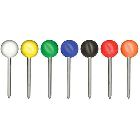"Gem Office Products Round Head Map Tacks - 0.18"" Head - 100 / Box - Assorted - Steel"