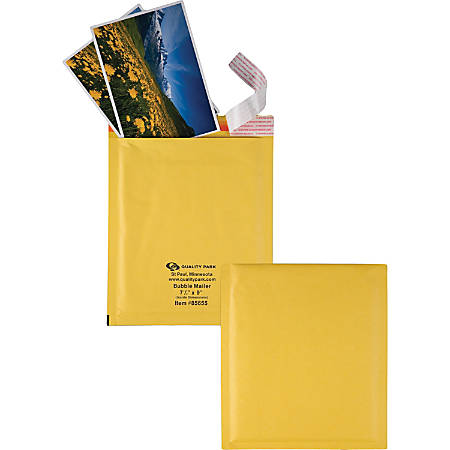 "Quality Park Redi-Strip Bubble Mailers with Labels - Bubble - 7 1/2"" Width x 9 1/2"" Length - Peel & Seal - 10 / Box - Kraft"