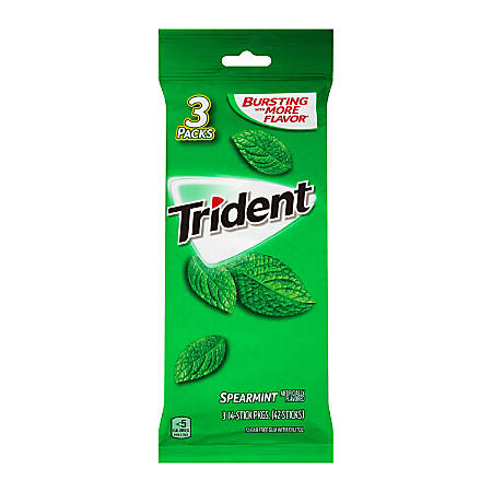 Trident® Spearmint Gum, 14 Pieces Per Pack, Bag Of 3 Packs, Box Of 3 Bags