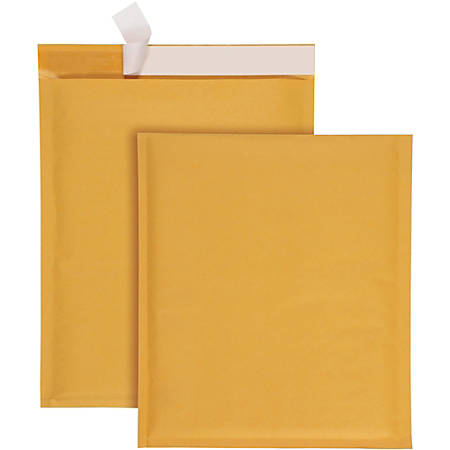 "Quality Park Redi-Strip Bubble Mailers with Labels - Bubble - 9"" Width x 12"" Length - Peel & Seal - 10 / Box - Kraft"